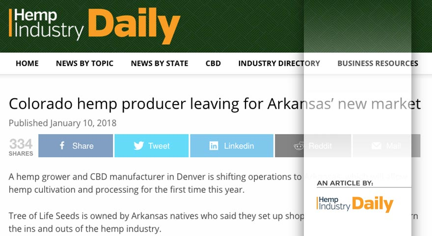 Tree of LIfe Seeds - Article by - Hemp Industry Daily - Colorado hemp producer leaving for Arkansas' new market