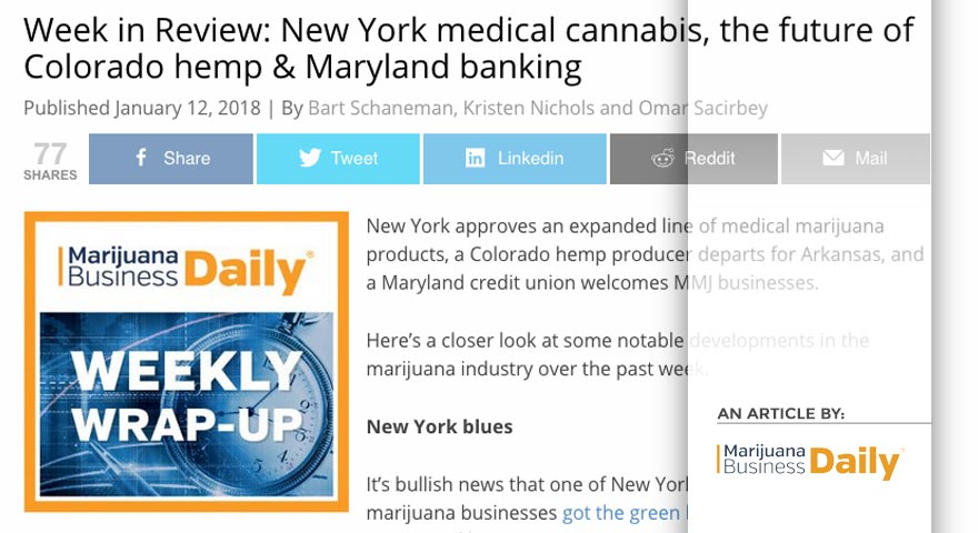 Tree of Life Seeds - Article by - Marijuana Business Daily - Week in Review: New York medical cannabis, the future of Colorado hemp & Maryland banking