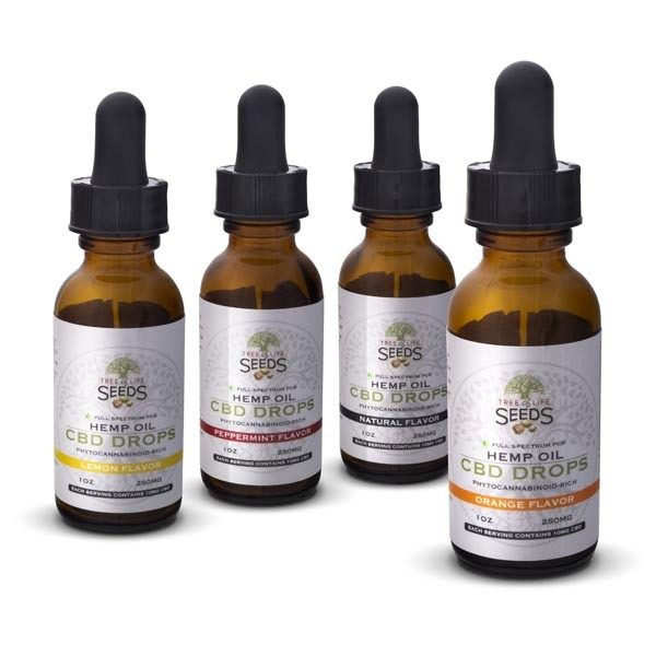 Tree of Life Seeds - Hemp Oil - CBD Drops - Orange, Lemon, Peppermint & Natural Flavors - 250MG