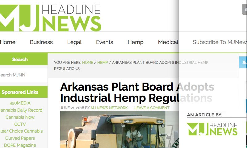 Arkansas Plant Board Adopts Industrial Hemp Regulations - As seen on MJ Headline News