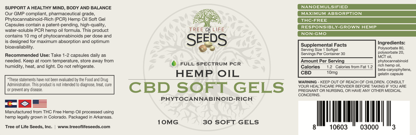 Tree of Life Seeds - Hemp Oil Soft Gels - 10mg SoftGel Capsules Label