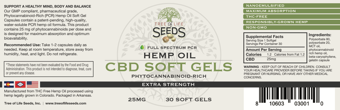 Tree of Life Seeds - Hemp Oil Soft Gels - Extra Strength 10mg SoftGel Capsules Label