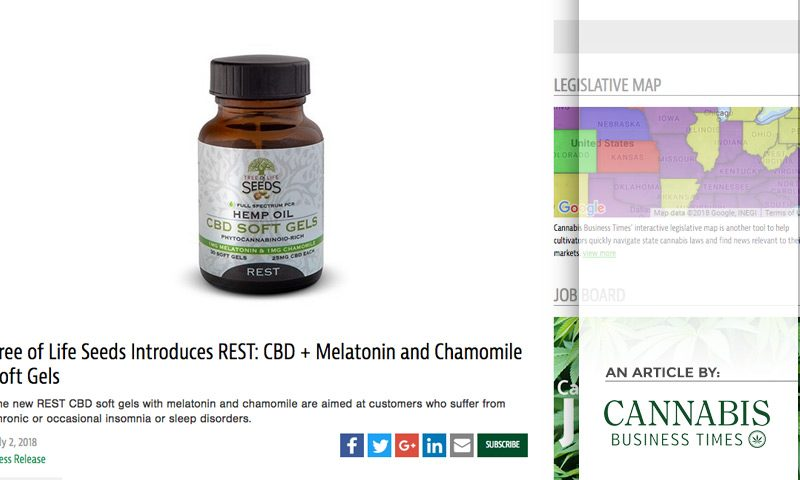 Cannabis Business Times - Tree of Life Seeds Introduces REST: CBD + Melatonin and Chamomile Soft Gels