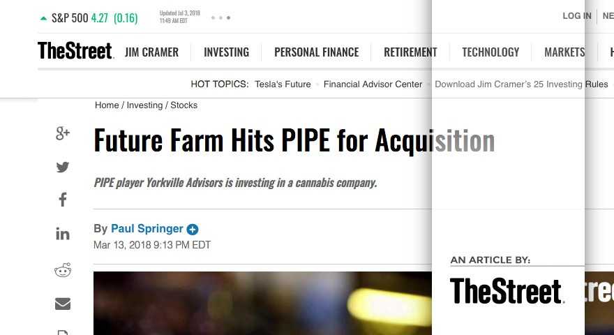 Future Farm Hits PIPE for Acquisition PIPE player Yorkville Advisors is investing in a cannabis company.